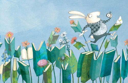 Running between books / Corriendo entre libros (ilustración de Nuria Feijoo)