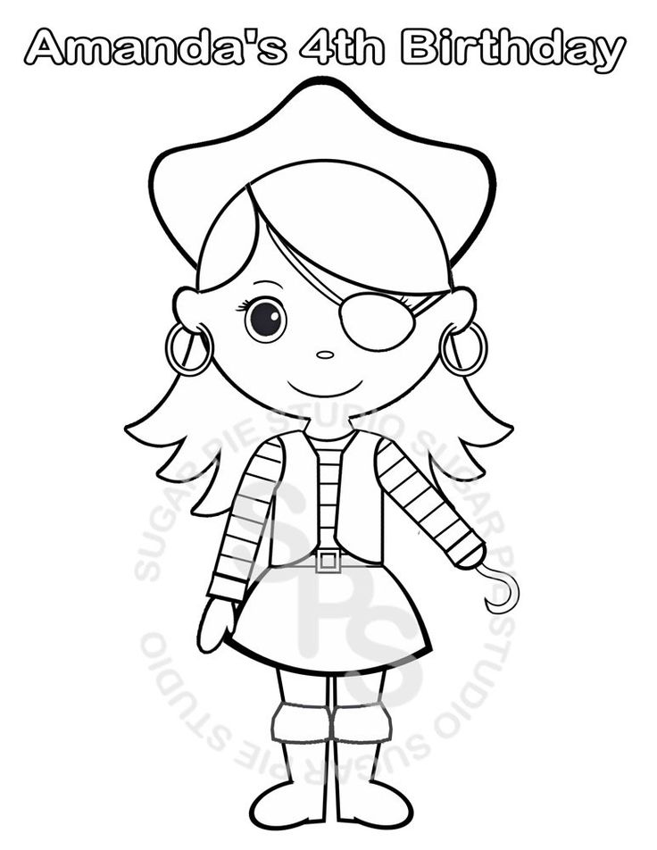 Personalized Printable Pirate Girl Birthday Party Favor