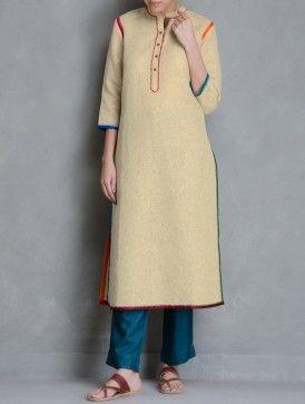 Beige-Multi Color Embroidery Detail Cotton Linen Kurta by Kora
