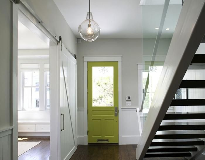 I'm in love with this whole scene -- the door color, the barn door, the stairway. Perfection.