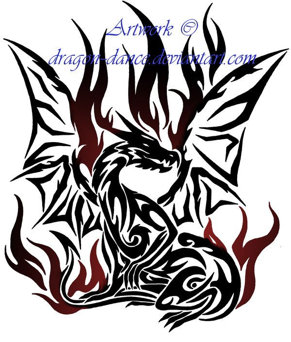 Tribal Flaming Dragon Tattoo Commission By DansuDragon On