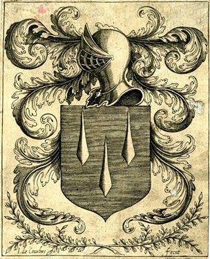 Escudo de armas de Léon Bouthillier (?) Con rayas rodamientos escudo y tres soles, coronadas por el casco convertirse en hojas de acanto, y flanqueado por hoja de palma de la izquierda y laureles en el grabado de la derecha