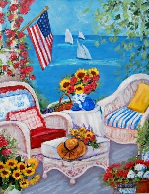 What a cheerful summer scene!  I love Erin's paintings!!