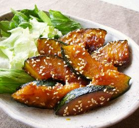 In a frying pan!  Easy pumpkin chili baked  pumpkin1/3 ★ soy sauce and sugarEach 2 tablespoons ★ vinegar1 tablespoon Sesameplenty