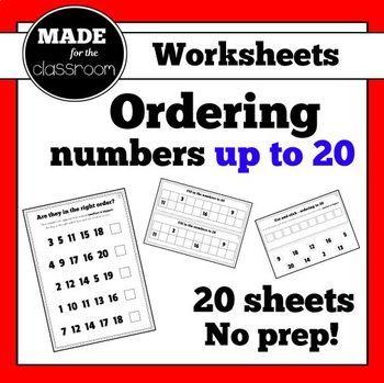 Ordering numbers to 20 - No prep worksheets (x20)