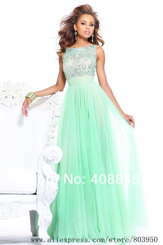 2014 Top Fasion New Arrival Freeshipping A-line Euro Type High Neck Sleeveless Chiffon with Beadings Best Seller Prom Dresses