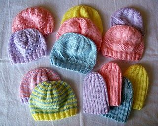 Knitting baby hats. Love these designs and there is always enough yarn left over to make a hat for charity.