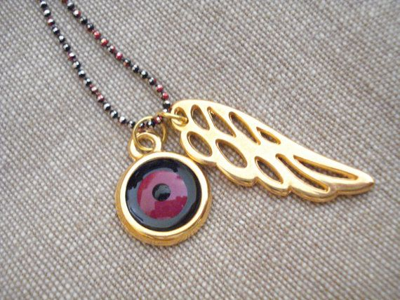 Evil eye wings necklace Guardian angel necklace Lucky by Poppyg