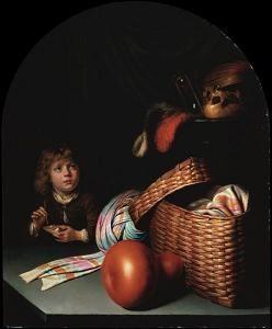'Stilleven van een jongen die bellen blaast' door Gerard Dou. Vanitas schilderij.