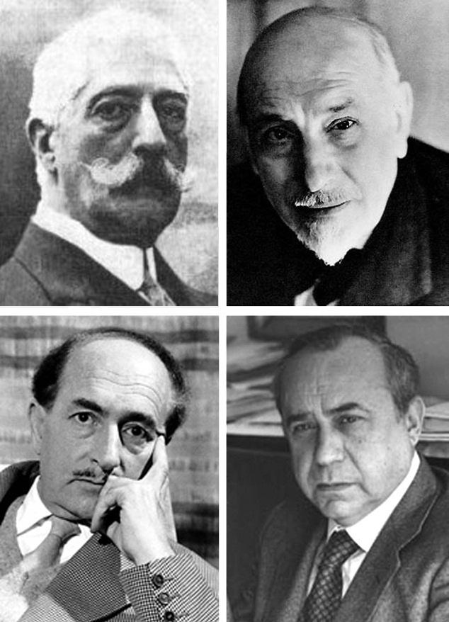 La letteratura siciliana è cominciata nella corte di Federico II. Nella fotografia, possiamo vedere l'immagine di quattro scrittori veramente importanti: Giovanni Verga (esponente del verismo), Luigi Pirandello (Nobel per la letteratura nel 1934), Leonardo Sciascia e Salvatore Quasimodo (Nobel 1959 e pionero dell'ermetismo).