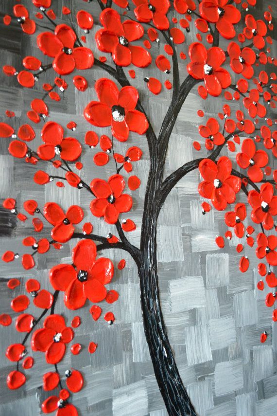 Textured red cherry blossom tree painting ready to by ZarasShop