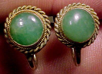 Jade Jadeite Silver Gilt Earrings 1930s Jadite Screw-back