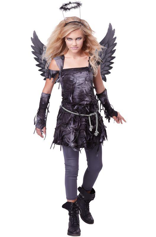 Not all angels are so sweet and innocent. Bring out that dark side with this tween Spooky Angel costume.<br><br>Costume features:<ul><li>Black dress</li><li>Printed wings</li><li>Leggings</li><li>Glovelettes</li><li>Halo</li></ul>