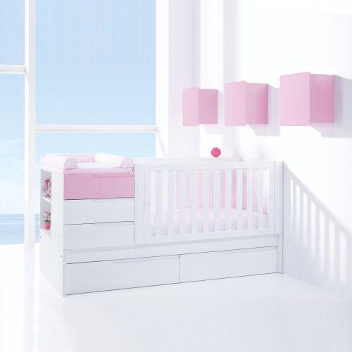 Oferta Online de Cunas Convertibles de diseño, modernas y de gran calidad. Cuna convertible en habitación junior completa en rosa y blanco para bebés niña. ¡Oferta por 999€! Aprovecha la oportunidad
