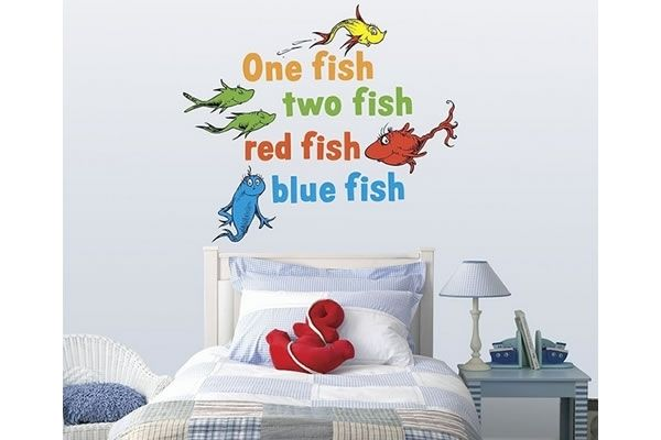 Dr seuss one fish two fish wall decal decorating for Dr seuss wall mural decals
