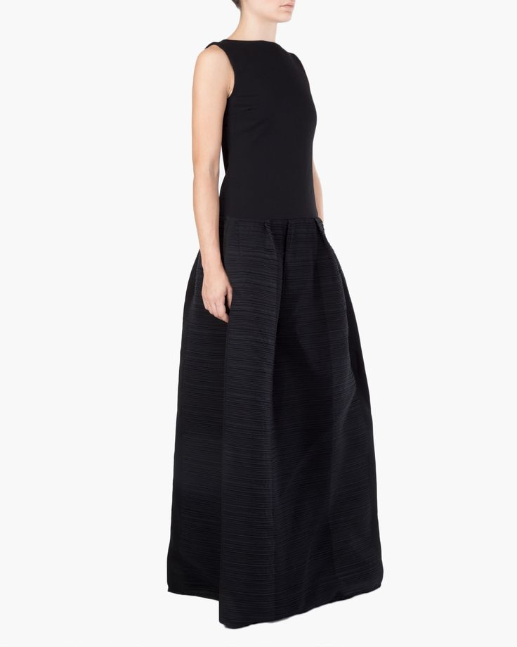 Crew-neck dress, sleeves less and mixed fabrics. Waist cutted top and maxi wool skirt with plissè texture Malloni Online Boutique