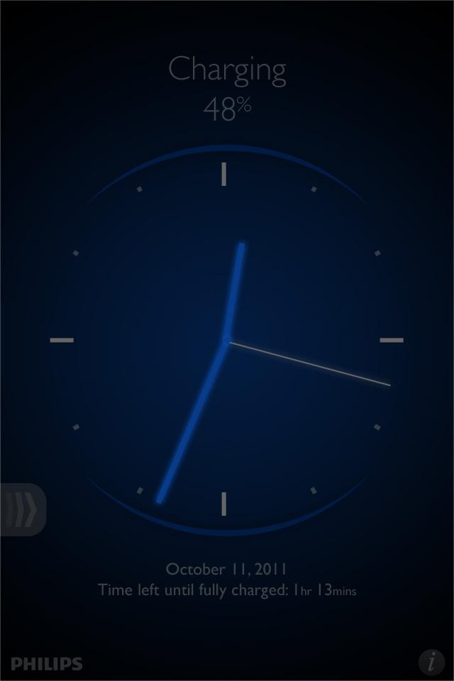 Philips | Battery Sense iOS App – analog clock screensaver (night