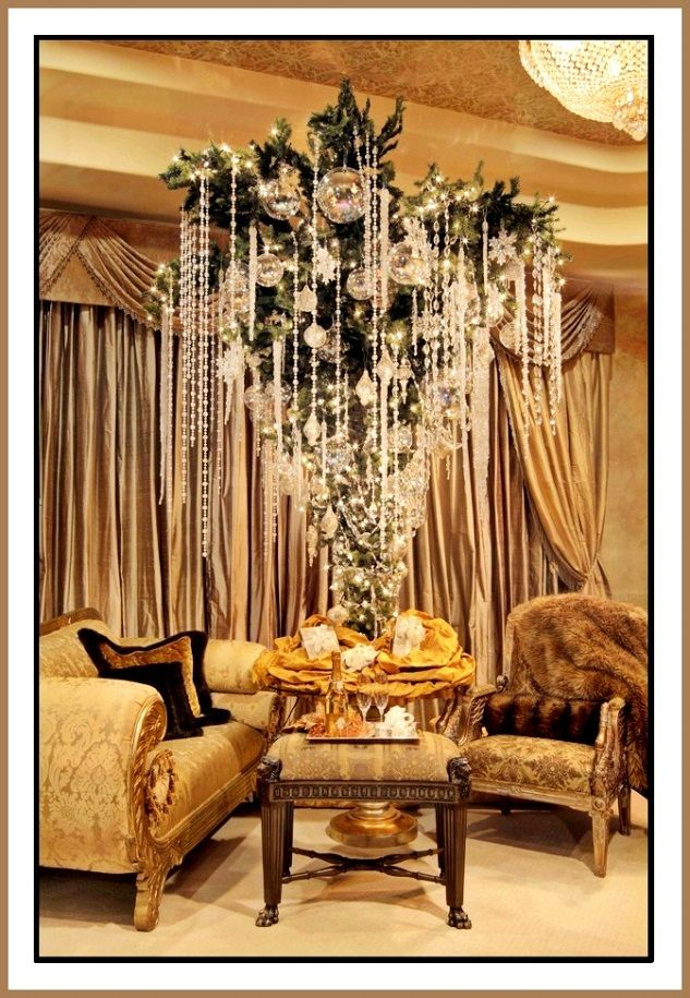An unusual luxury christmas tree decorated with crystal and gems. Next year for the crystals..