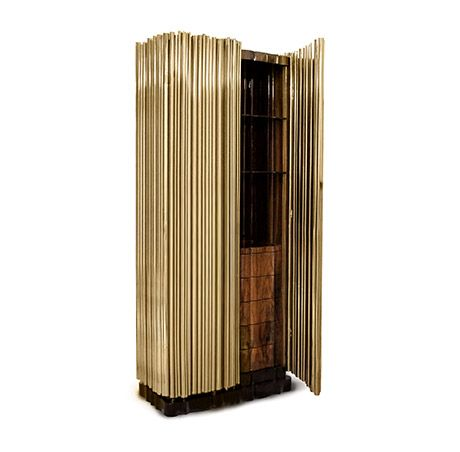 The Symphony Cabinet is inspired by the movement and evolution of music, from the natural flow of sound   Symphony Gold Cabinet by @Boca do Lobo   Modern Cabinet   Discover more http://buffetsandcabinets.com