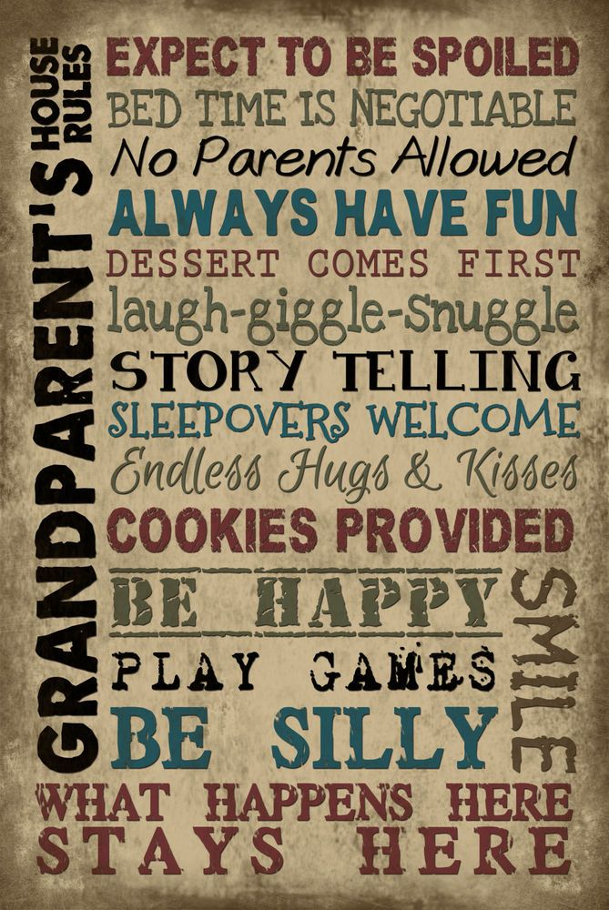 Vintage Primitive family wood sign GRANDPARENTS RULES Rustic Home wall Decor #Handmade #RusticPrimitive