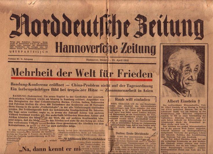 Bild 1 aus Beitrag: Norddeutsche Zeitung, Hannoversche Zeitung vom Dienstag, 19. April 1955