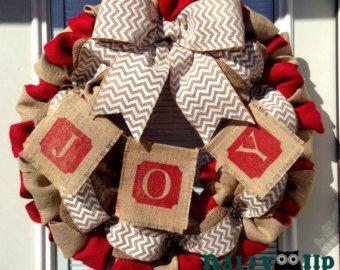 Couronne de toile de jute, guirlande de Noël, naturelles et Red - White Chevron Burlap couronnes, Couronne pour toute l'année, couronne de bienvenue, couronne rouge, toile de jute l'automne