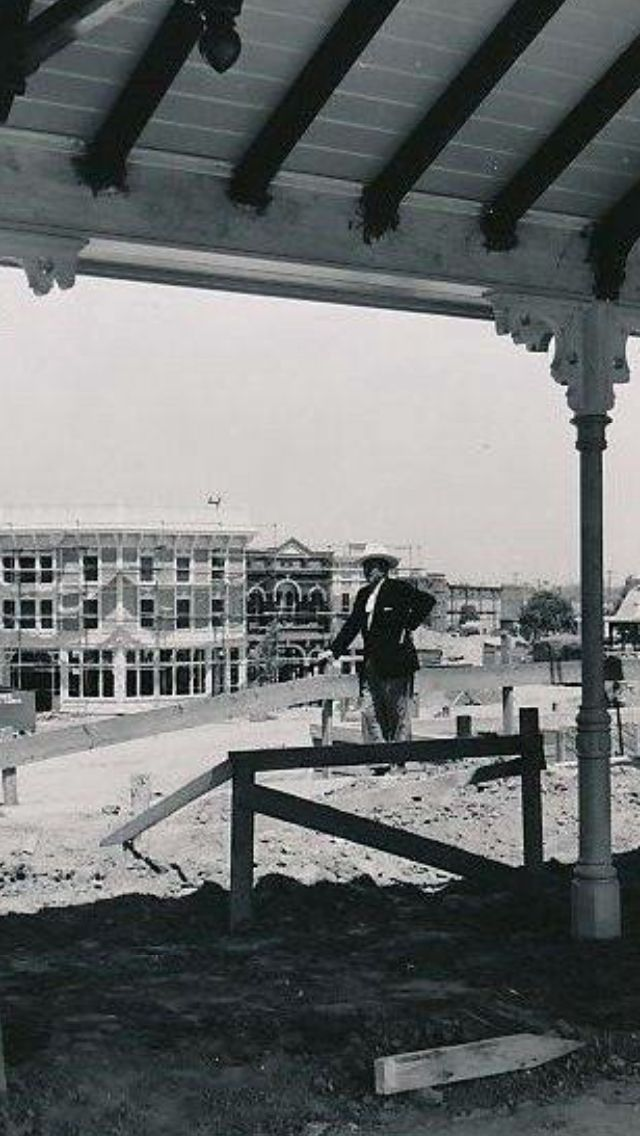 "Walt during construction of his Magic Kingdom, Disneyland. ""Why yes, I am the king of all I survey!"""