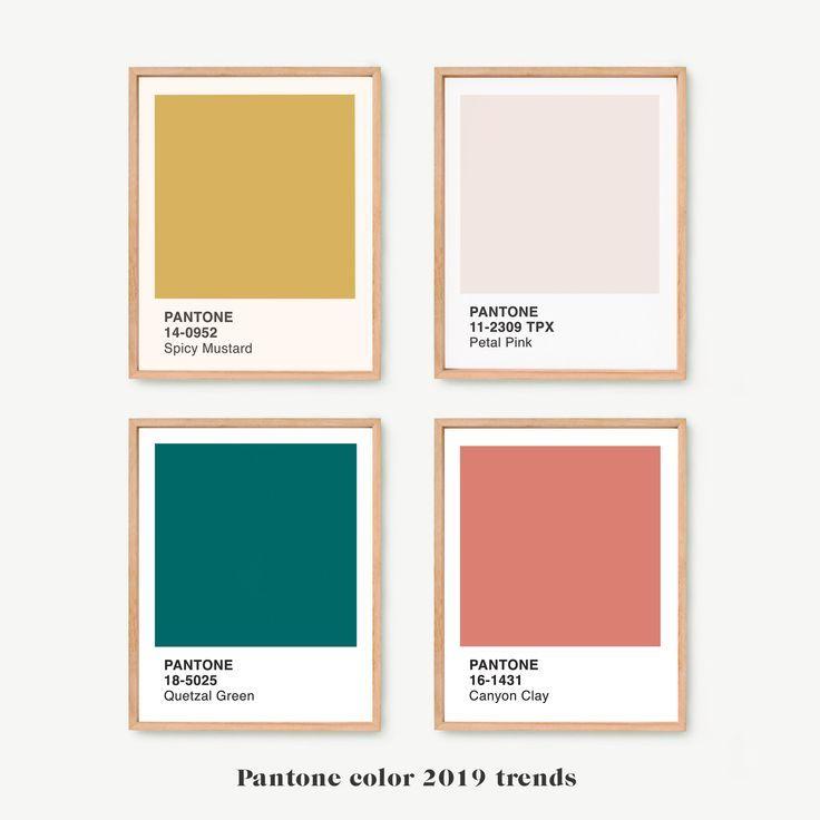 pantone 2019 prints wall art set of 4
