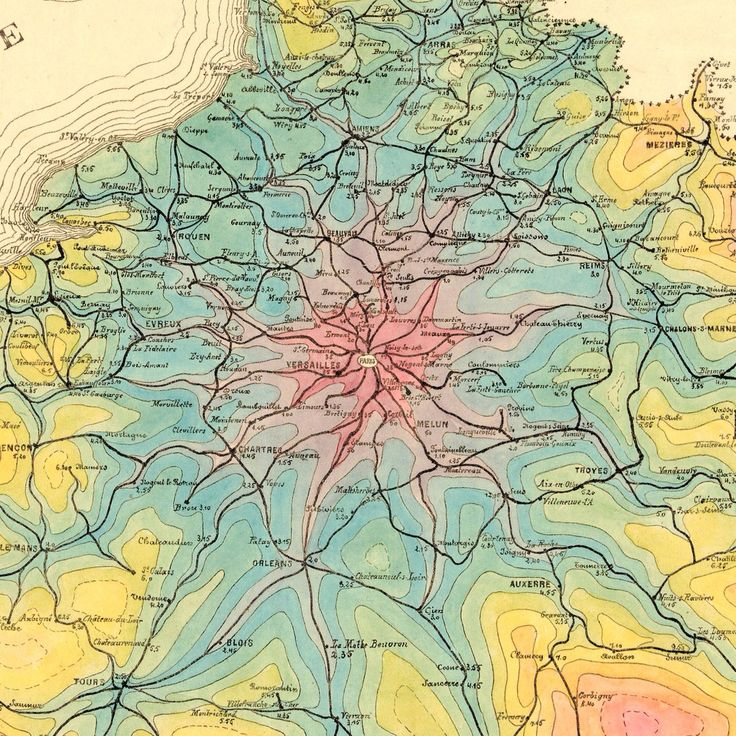 Detail at Paris of isochrone map of