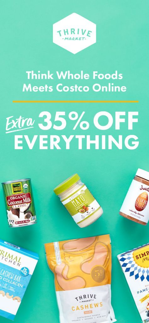 Thrive Market sells the healthiest products at a discount. Think Costco meets Whole Foods online! Sign up today and get 35% OFF your first order.