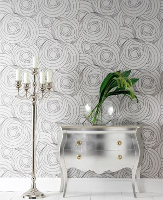 """""""I love this Macintosh Rose wallpaper by Wayne Hemingway – it's very stylish and I put my money on it becoming a timeless classic..."""" -- I'm loving the silver chest..."""