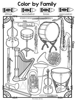 Instrument Families Workbook | TpT Wish List | Music worksheets