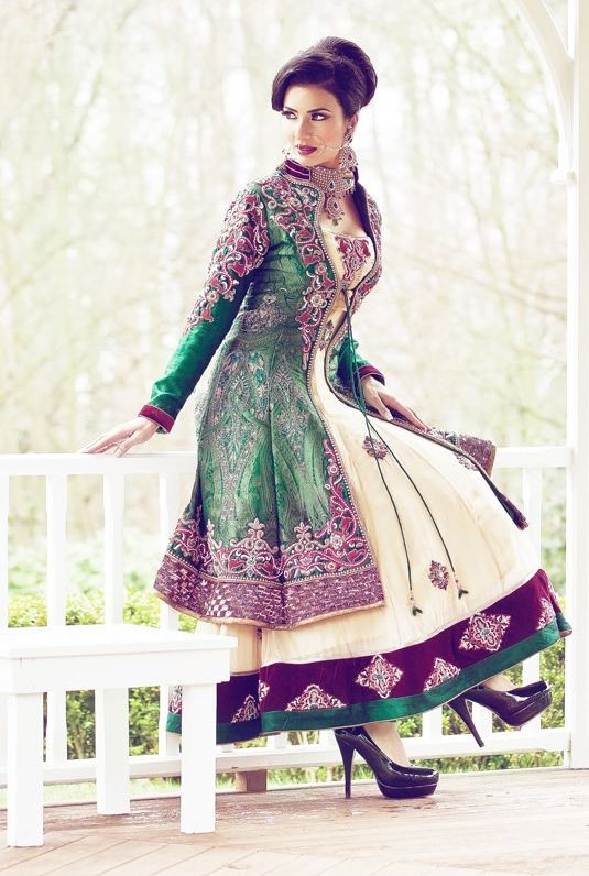 Embroidered emerald green & maroon purple fitted silk full length coat & matching trim on white gown costume.