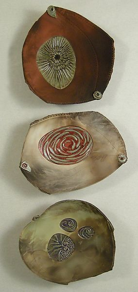 "Oooh - maybe I could make Copper bowls. They would patina, but I think that would be ok. Original Pin: Jan Hacque | ""barely Bowl Trio""  Ceramic Wall Art"