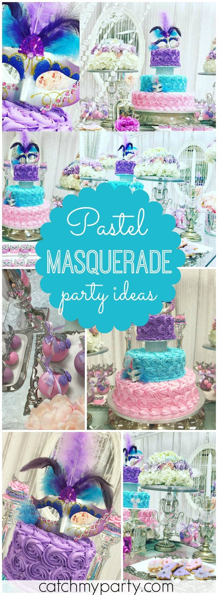 This lovely Sweet Fifteen party has a pastel masquerade theme! See more party ideas at Catchmyparty.com!