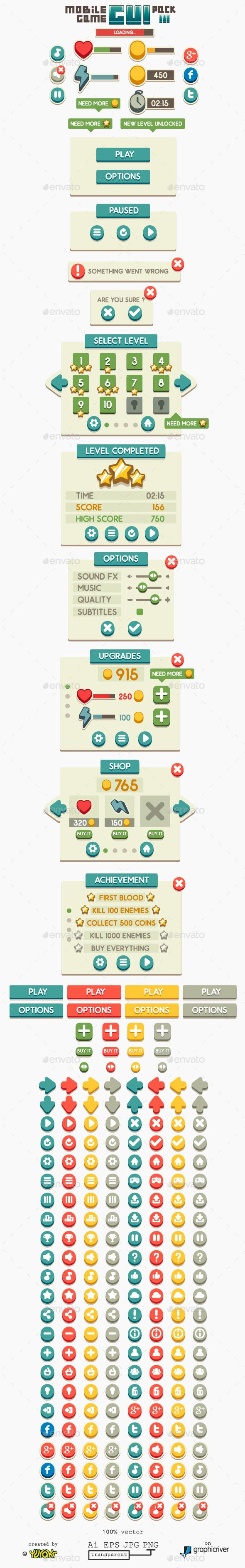 Mobile Game GUI Pack Vector EPS, AI Illustrator. Download here: https://graphicriver.net/item/mobile-game-gui-pack-3/11444877?ref=ksioks