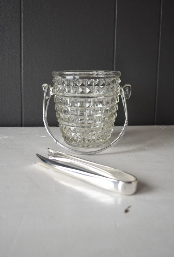 Vintage Pressed Glass Ice Bucket Decorated by DoceVikaVintage