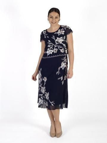 ad317a78cfb9 Navy/Ivory Lily Bead/Emb Double Layered Chiffon Dress | Мода ...