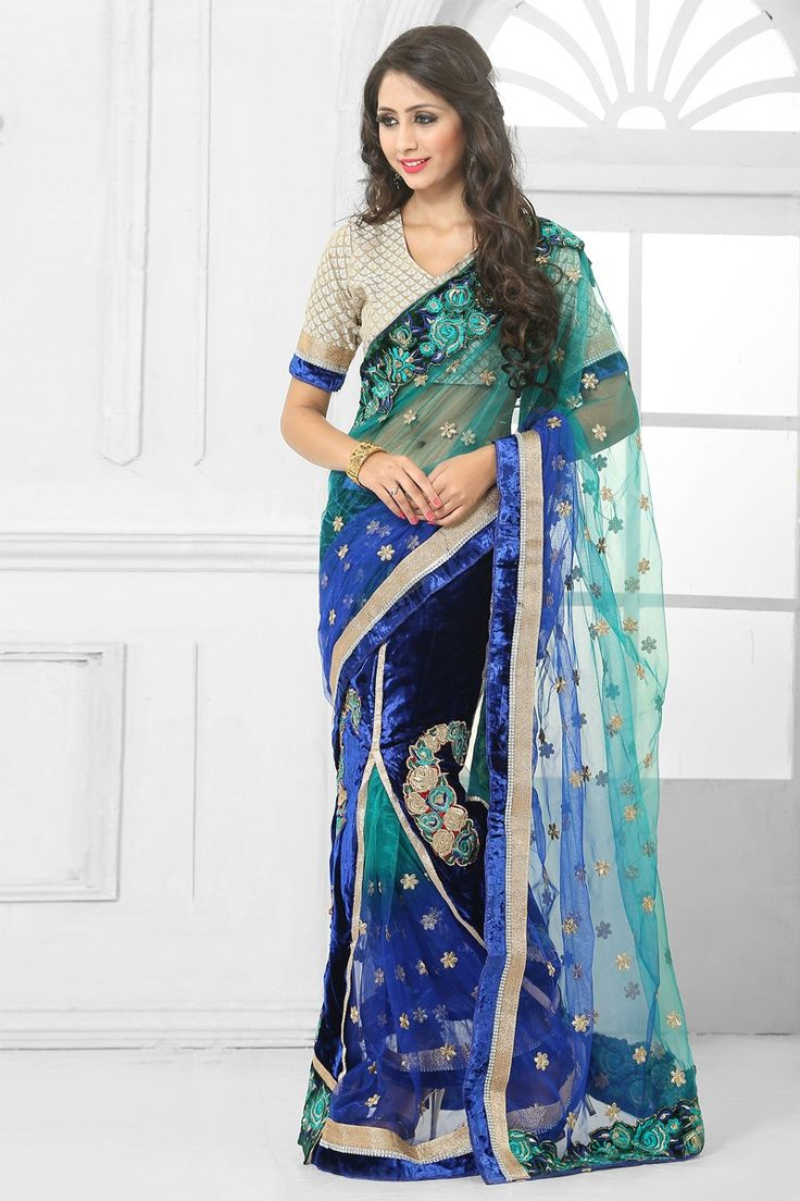 Blue with Sky Blue Net Velvet Saree with Art Silk Blouse Price:  RM409.00 Blue with Sky Blue, net and velvet saree with cream art silk blouse.  Embellished with embroidered, resham, zari and stone.  Saree comes with v neck blouse.  It is perfect for casual wear, festival wear, party wear and wedding wear.  http://www.andaazfashion.com.my/womens/sarees/partywear