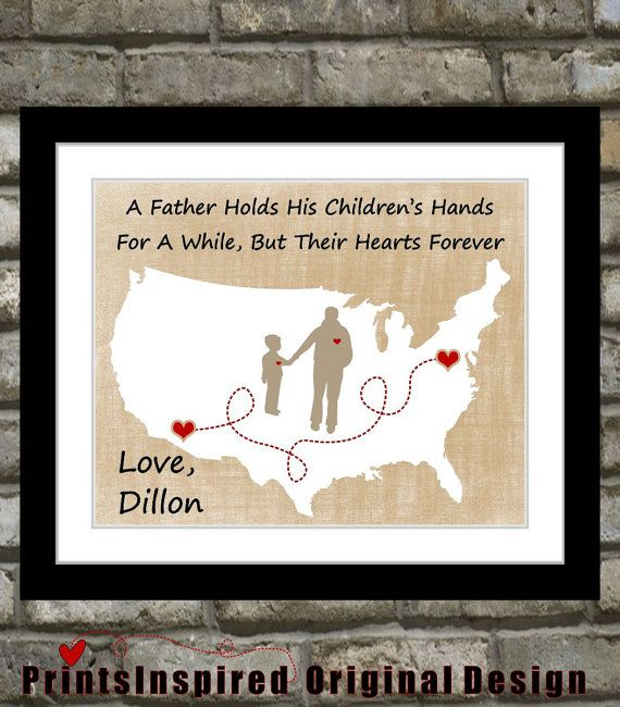 Unique fathers day gift quote of your choice on a personalized map of US with silhouettes of father and and son and or daughter picture.