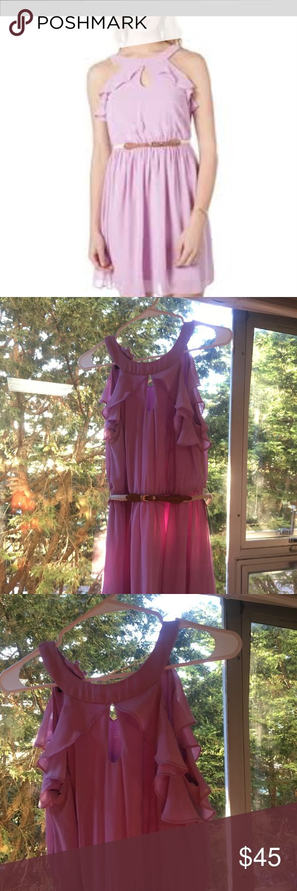 BCX Purple Dress with ruffles w/ Braided Belt BRAND NEW (never worn) WITH TAGS  - From Von Maur  - Beautiful Lilac Dress with ruffles and a braided belt around the waist  - Great for spring & summer outings  - BCX Dresses Midi