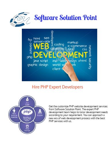 Get the customize PHP website development services from Software Solution Point. The expert PHP development team helps to tailor development needs according to your requirement. You can approach a new era of web development process with the best PHP services with us.