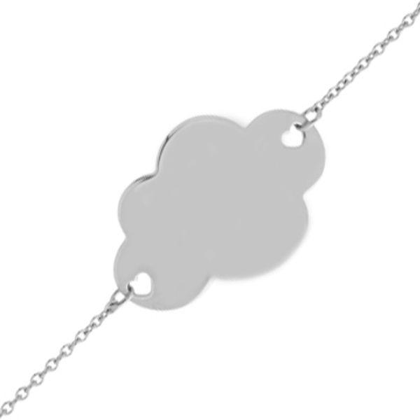 Gourmette bébé nuage (or blanc 9ct) (Mon Premier Bijou) sur PremierCadeau.com
