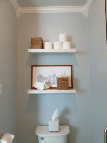 Floating shelves over the toilet   there  39 s currently an ugly cabinet up there. 17 Best images about CROWN MOULDING on Pinterest   Faux
