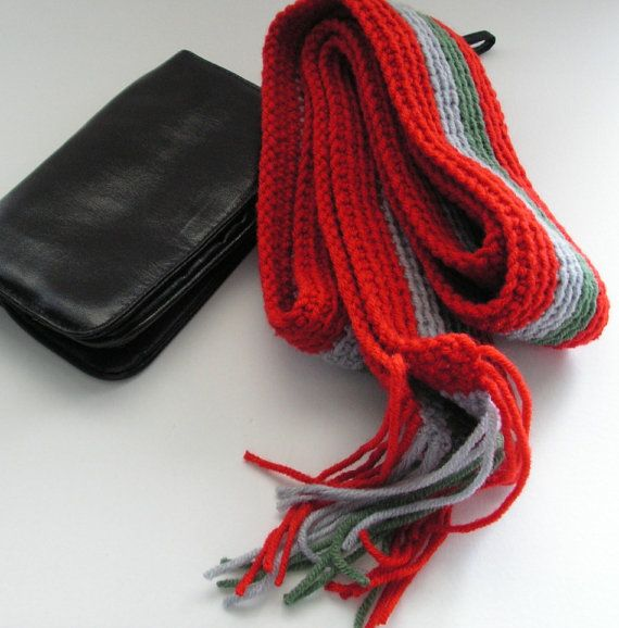 Scarf Red Green and Grey Stripes Scarf Winter Accessories