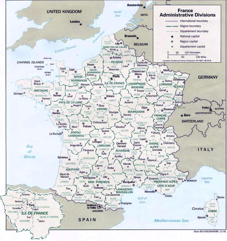 Map of France w/ regions - Departments list by regions