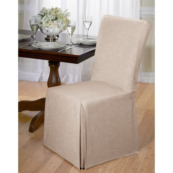 Madison Chambray Cotton Dining Chair Slipcover Tan Brown Solid Room CoversDining