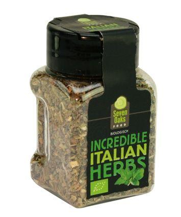 Incredible Italian Herbs.  Een smakelijke mix van kruiden die veel gebruikt worden in de Italiaanse keuken.   Deze kruidenmix kan je gebruiken in pastasauzen, over je pizza en ook om vleesgerechten, soepen en stoofvleesgerechten op smaak te maken.