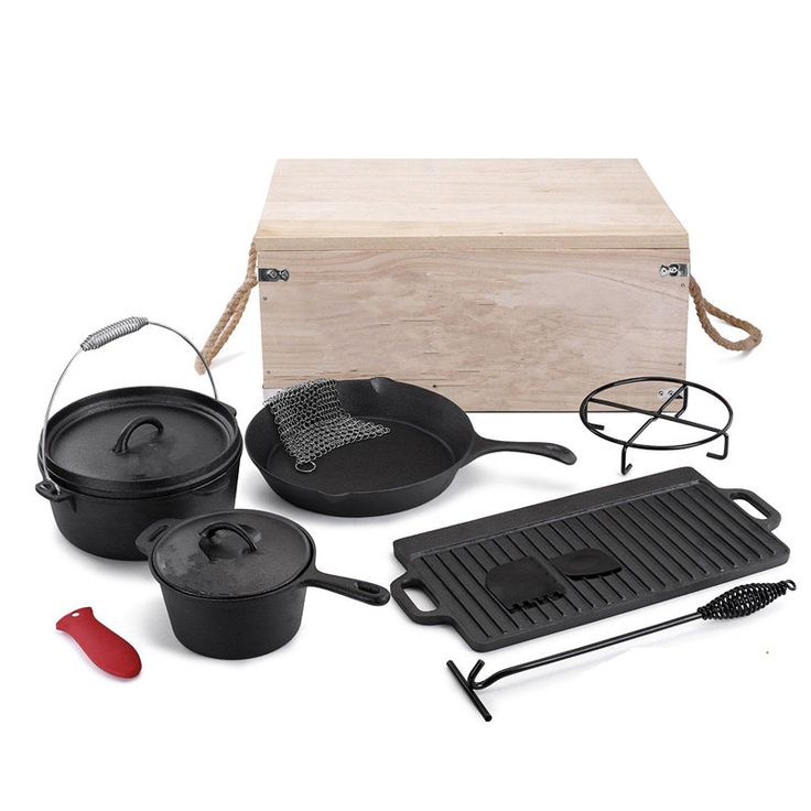 Outdoor Camping 5 Piecee Pre-Seasoned Cast Iron Cookware Set