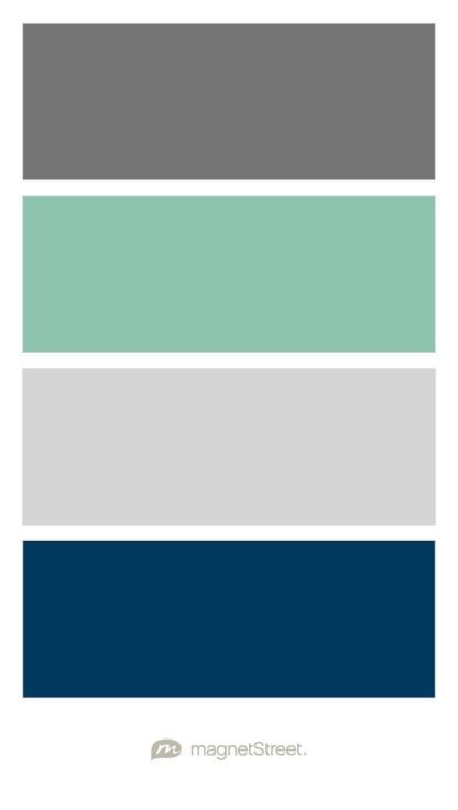Dark Grey, Seafoam Green, Light Grey, and Navy color scheme for boy nursery - custom color palette created at MagnetStreet.com